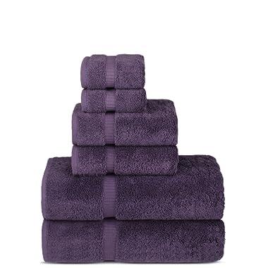 Luxury Spa and Hotel Quality Premium Turkish 6-Piece Towel Set (2 x Bath Towels, 2 x Hand Towels, 2 x Washcloths, Plum)