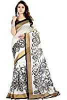 GiniGold Women's Cotton Printed Saree with Blouse Piece - N-5565_White and Black_Free Size