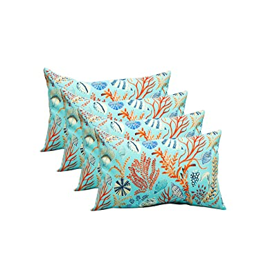 Resort Spa Home Decor Set of 4 Indoor/Outdoor Decorative Lumbar/Rectangle Pillows - Light Blue Sealife: Kitchen & Dining