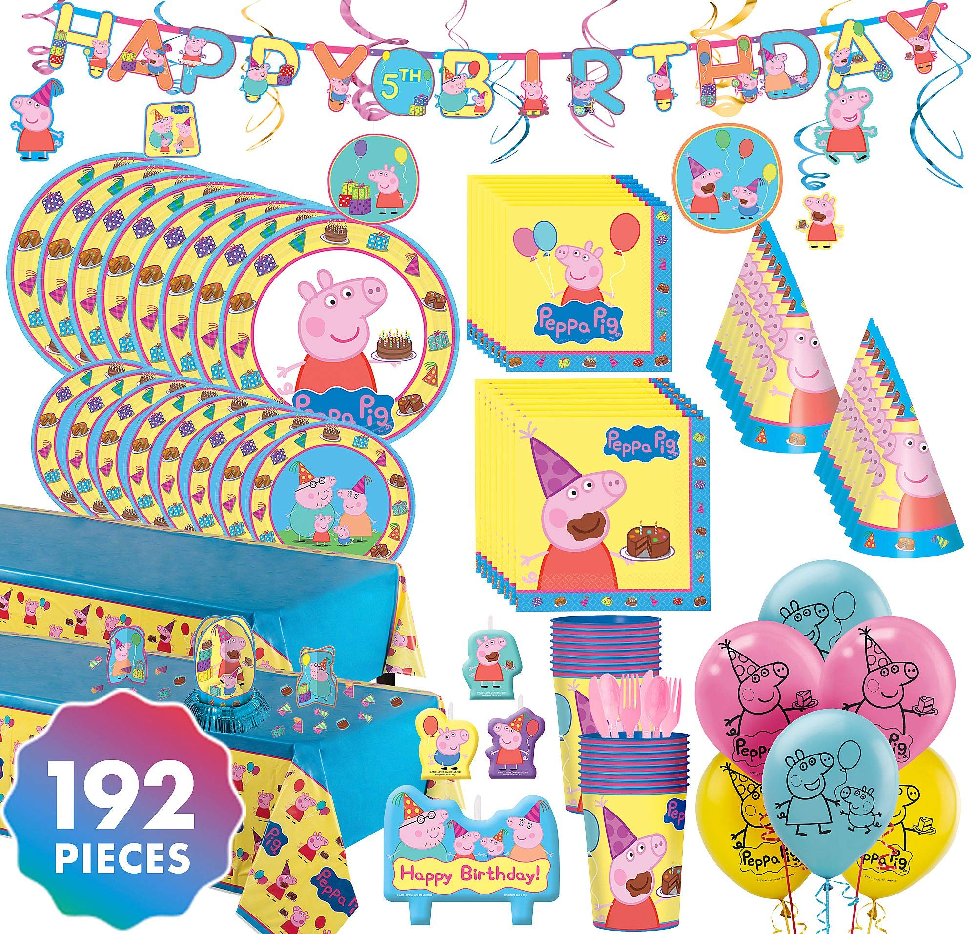 Party City Peppa Pig Ultimate Party Kit for 16 Guests, 192 Pieces, Includes Tableware, Decorations, Hats, and Balloons