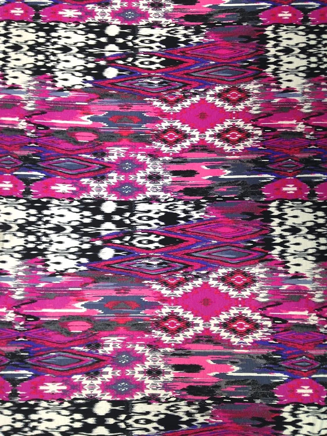 Tribal Abstract Pattern on Stretch Polyester Spandex Fabric