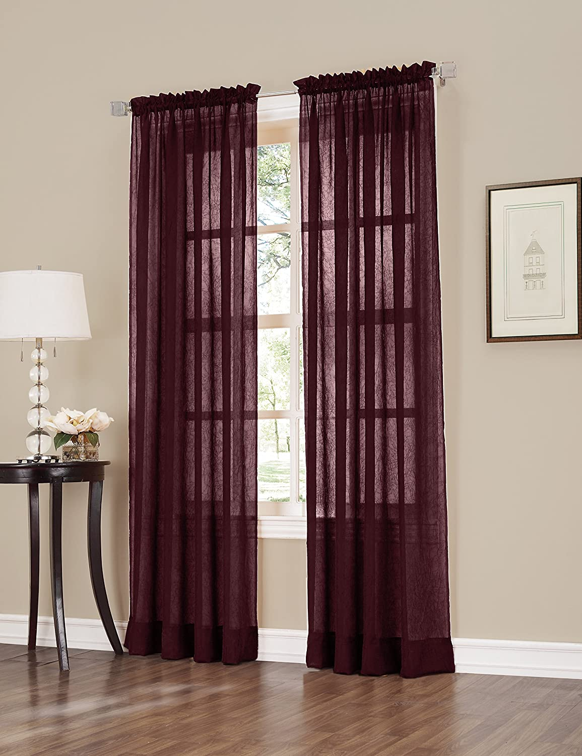 Erica Crush Sheer Voile Curtain Panel, 51-Inch by 63-Inch, Burgundy