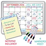 """Dry Erase Monthly Magnetic Calendar Board Set for Refrigerator - Includes - Monthly Calendar Planner 16""""x 12"""" - Fridge Notepad Magnet 6""""x 8"""" - 4 Colored Whiteboard Markers"""
