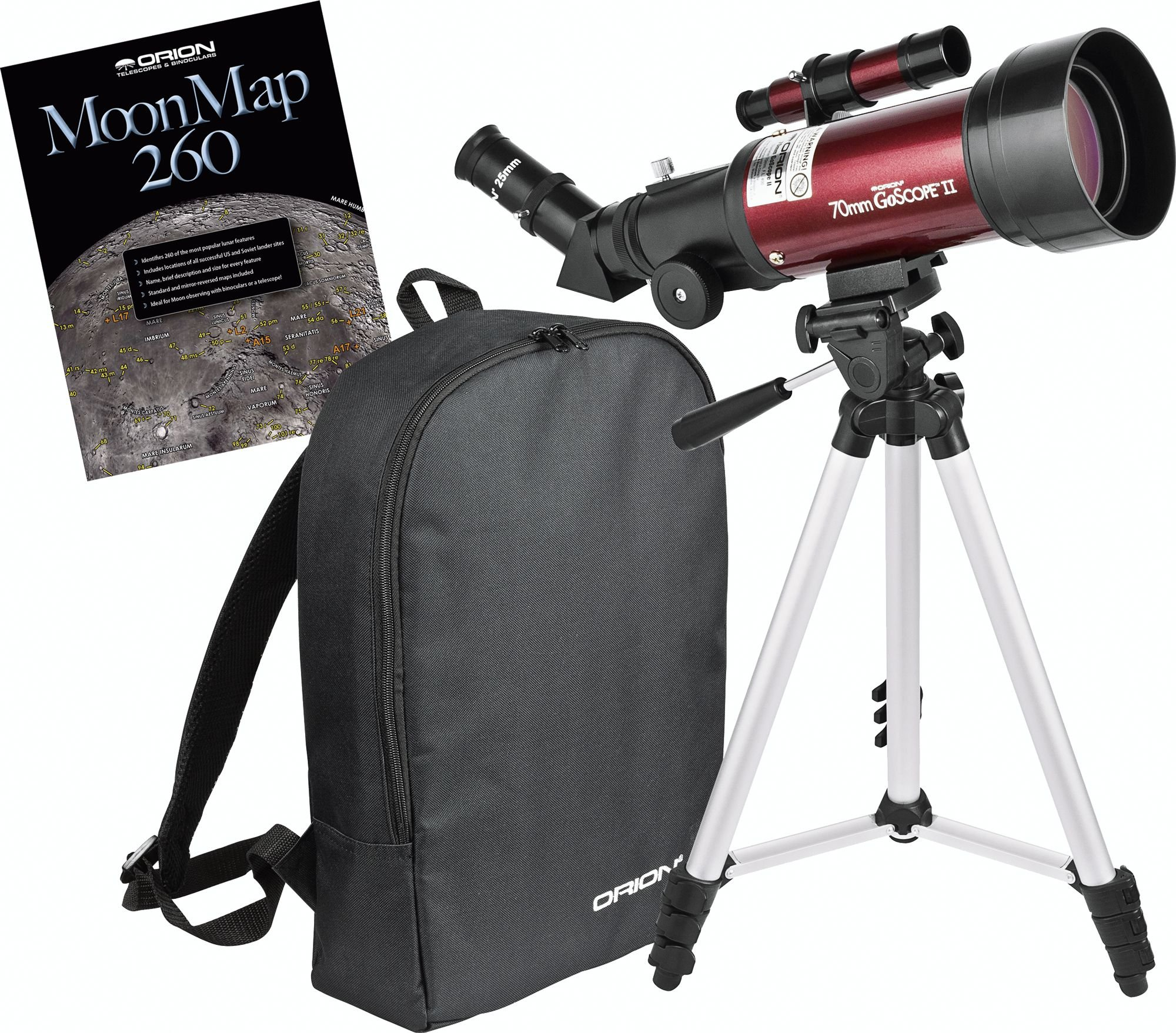 Orion 10034 GoScope II 70mm Refractor Travel Telescope Moon Kit (Burgundy) by Orion
