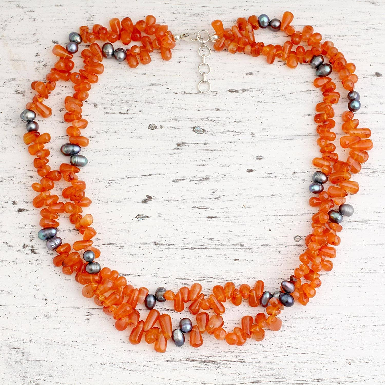 NOVICA Carnelian Cultured Freshwater Pearl .925 Sterling Silver Beaded Necklace Opulent Ginger