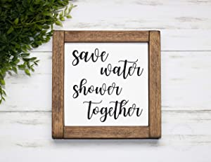 EricauBird Wood Sign-Save Water Shower Together Sign,Bathroom Sign,Farmhouse Style Sign,Funny Bathroom Sign,Framed Bathroom Sign,Bathroom Decor, Home Wall Art, 12x12