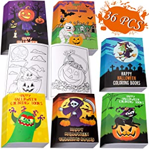 36PCS Halloween Coloring Books Party Favors for Kids - Hallowmas Treat or Trick Goodie Bag Stuffer Filler Fun Activity Decorations Supplies