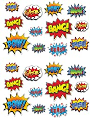 """Beistle 59902 24 Piece Hero Action Sign Cutouts, 6"""" to 12.5"""", Multicolor"""