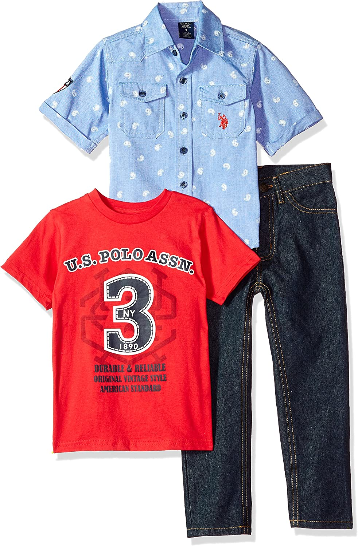 T-Shirt and Pant Set Boys Short Sleeve Polo Assn U.S