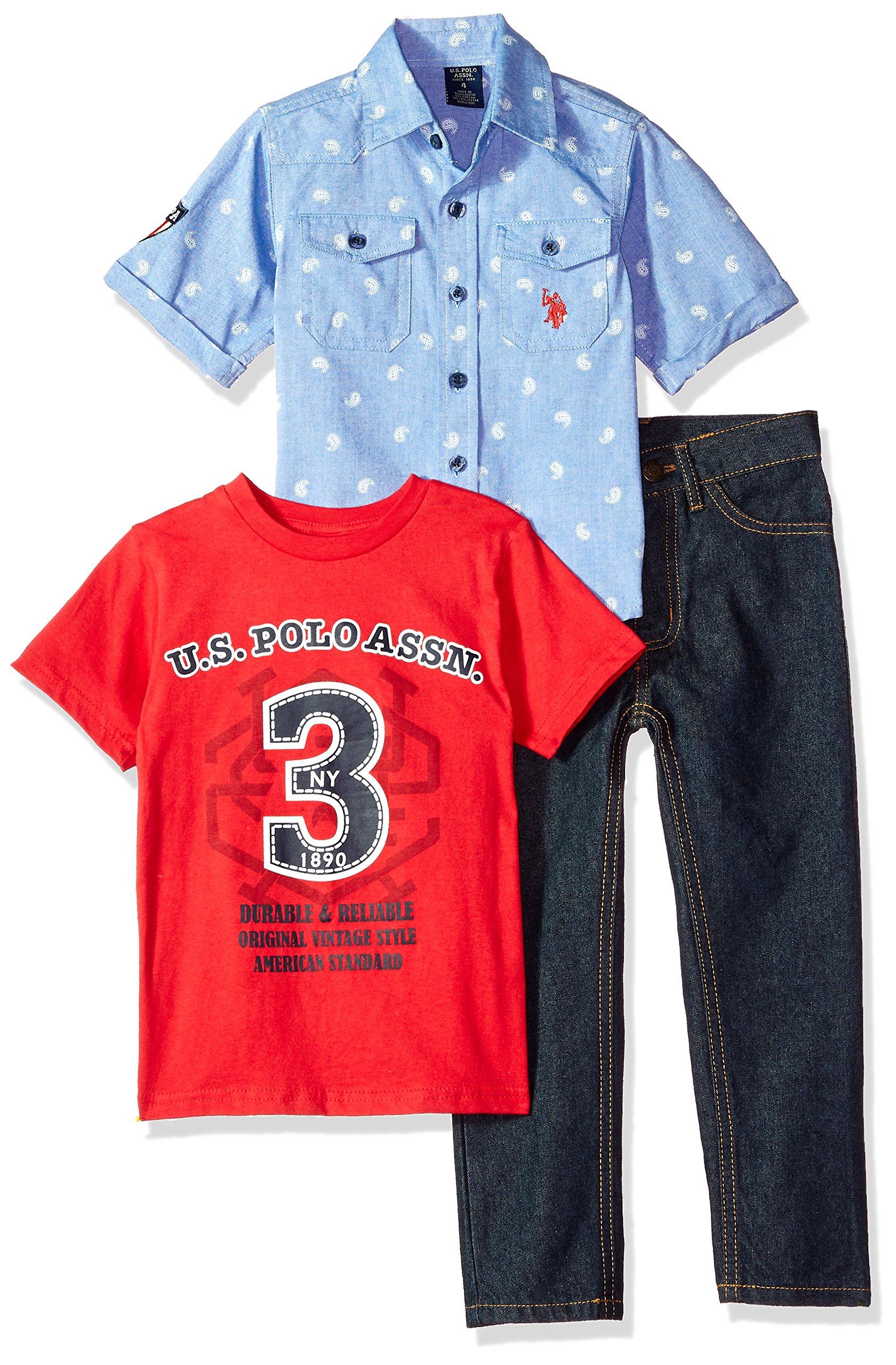 U.S. Polo Assn. Boys' Little Short Sleeve, T-Shirt and Pant Set, Durable Reliable Vintage Style Multi Plaid, 7