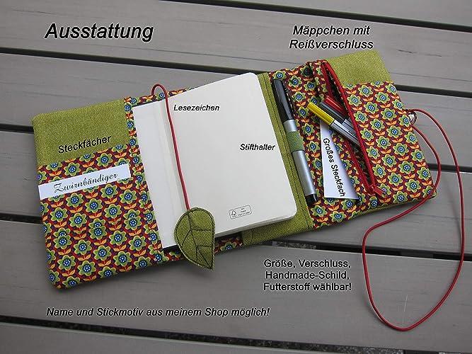 Organizer Federmäppchen Kalenderhülle Strukturstoff Grün