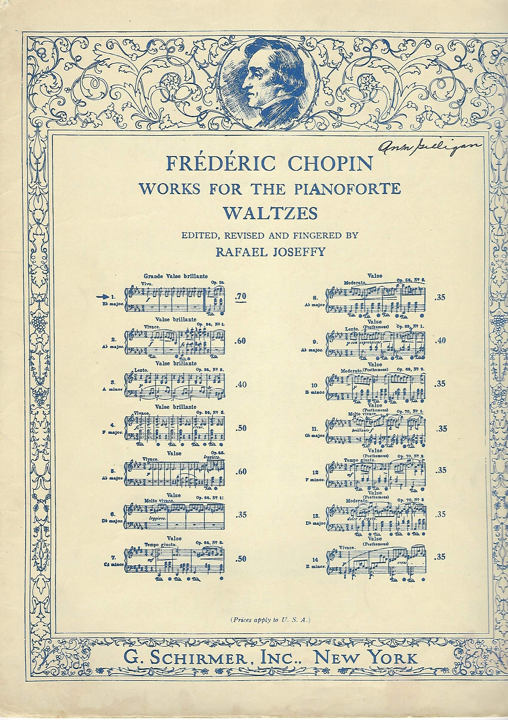 Frederic Chopin Works for the Pianoforte Waltzes, Grande