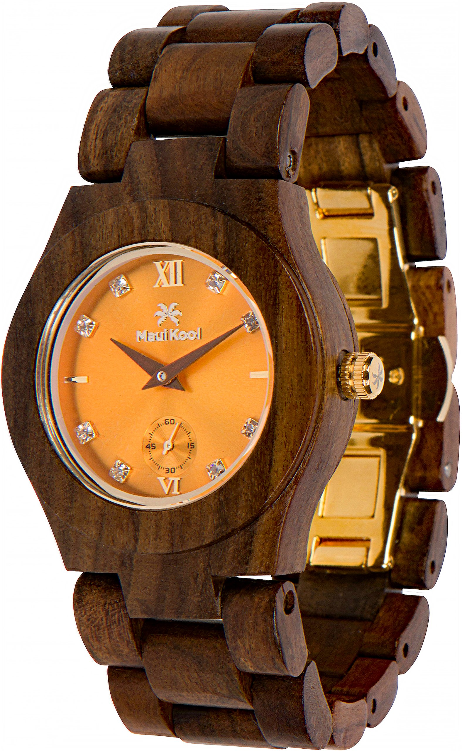 Maui Kool Wooden Watch Hana Collection For Women Analog Wood Watch Bamboo Gift Box (B7 - Sandalwood Orange)