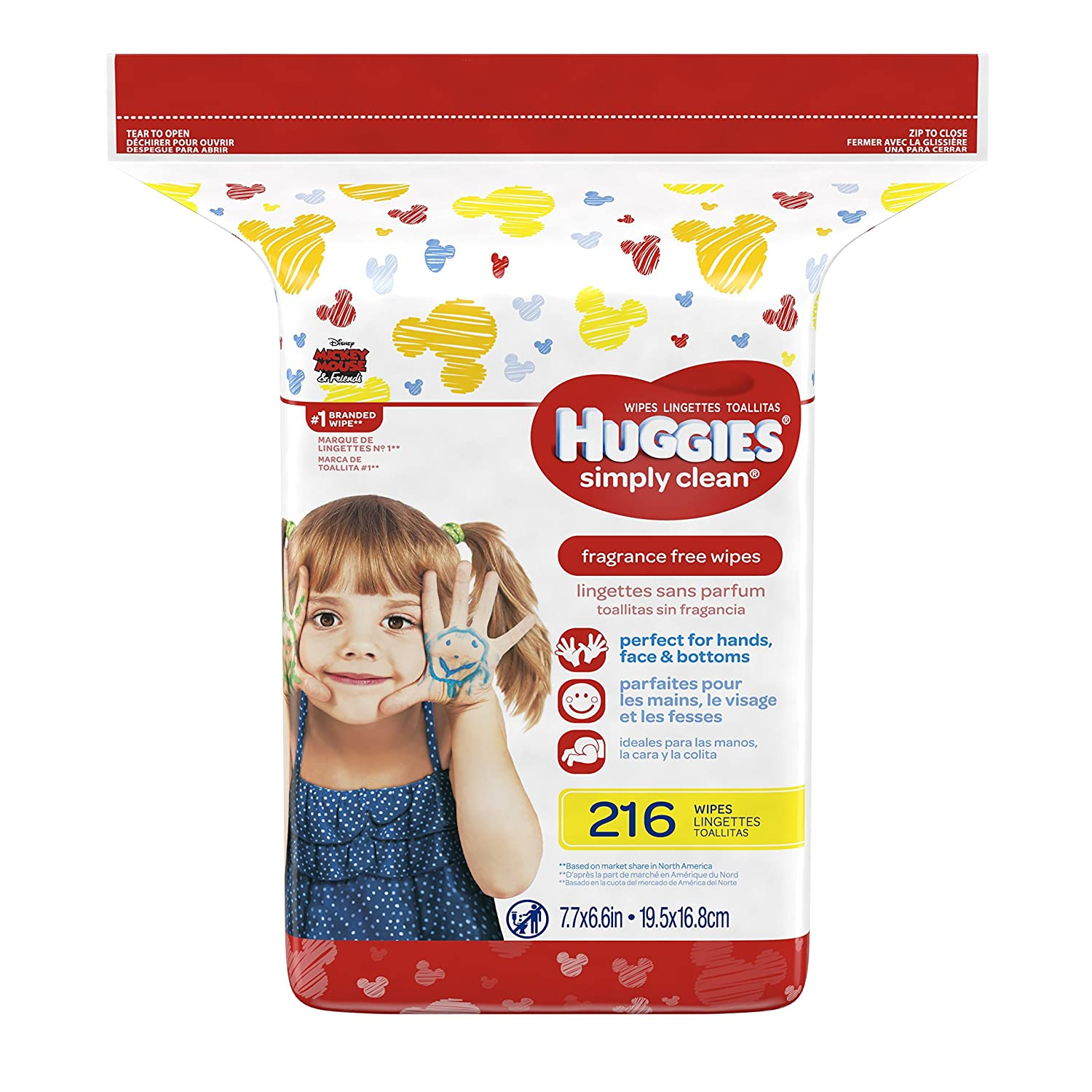 Huggies Simply Clean Fragrance-free Baby Wipes, Refill Pack, 216 Count Kimberly Clark 10036000487586