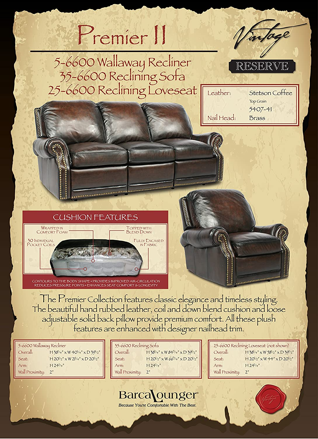 Amazon.com Power Recline BarcaLounger Premier II Electric Reclining Sofa - Stetson Coffee Kitchen u0026 Dining : barcalounger sofa recliners - islam-shia.org