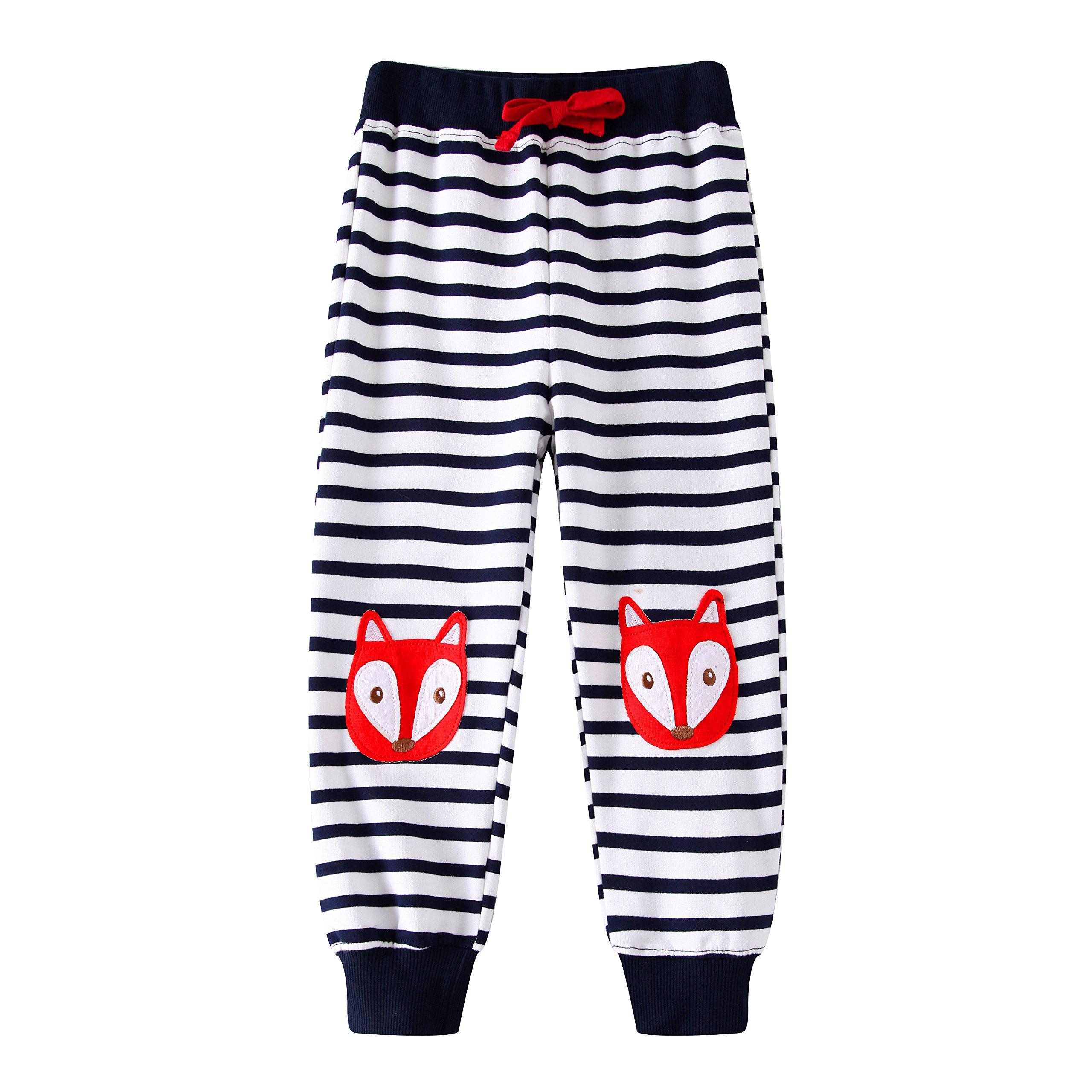 Boys Pants Long Cartoon Appliques Kids Sweatpants Cotton for Child Spring Autumn,Striped (6T,Fox)