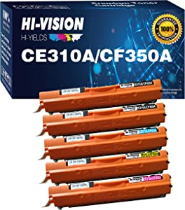 5-Pack HI-Vision Compatible 126A Toner Cartridge Replacement for HP CE310A CE311A CE312A CE313A work with LaserJet Pro CP1025nw 100 color MFP M175nw printer Pro 200 M275NW (2Black/Cyan/Magenta/Yellow)