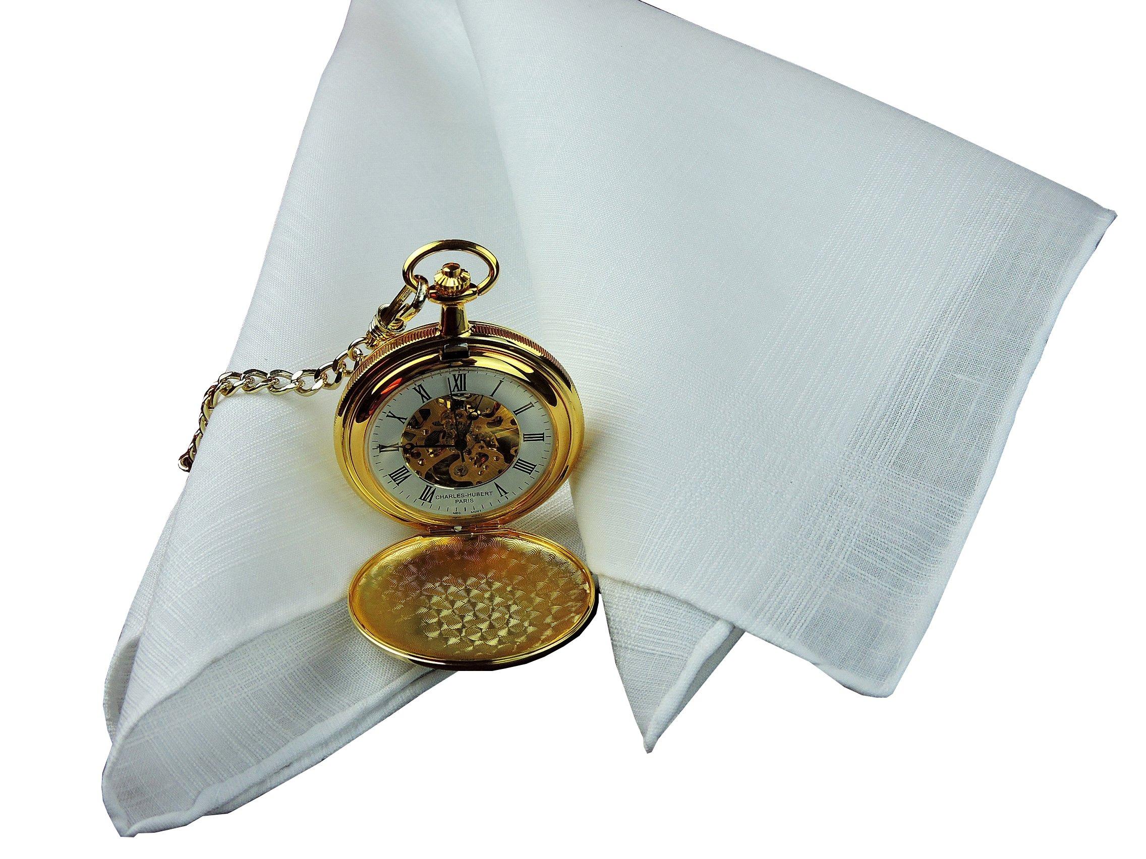 Thomas Ferguson Men's White Linen Corded Handkerchief Rolled Hem 16.5In Sq Gift Box