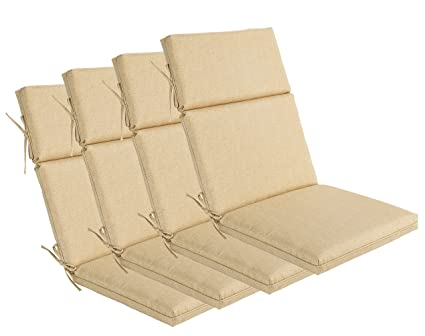 Bossima Indoor/Outdoor Light Yellow/Cream High Back Chair Cushion, Set Of 4