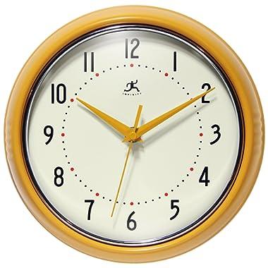 Infinity Instruments 9.5 inch Saffron Wall Clock Round Retro, Medium, Yellow