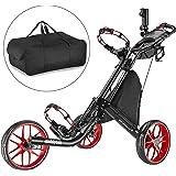 Chariot de golf EZ-Fold de CaddyTek - 3roues - Gris foncé - Avec sac de rangement