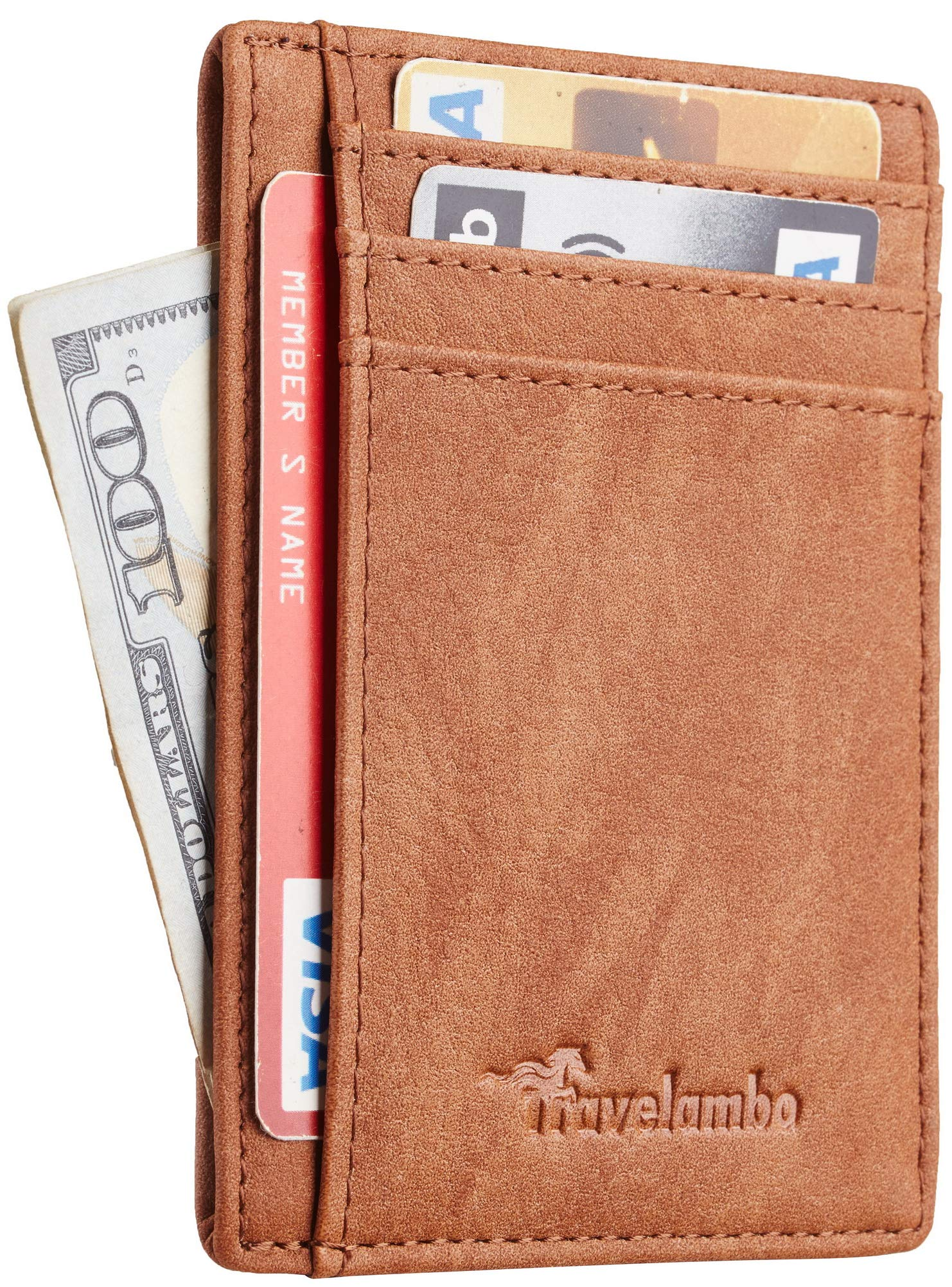 Travelambo Front Pocket Minimalist Leather Slim Wallet RFID Blocking Medium Size (Oldo Brown)