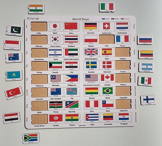 Buy cryo craft wooden world flag puzzle board 48 countries 29 x 29 buy cryo craft wooden world flag puzzle board 48 countries 29 x 29 x 06 cm online at low prices in india amazon freerunsca Choice Image
