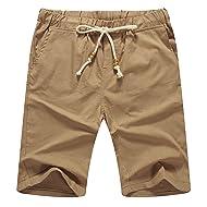 Mr.Zhang Mens Linen Casual Classic Fit Short Summer Beach Shorts