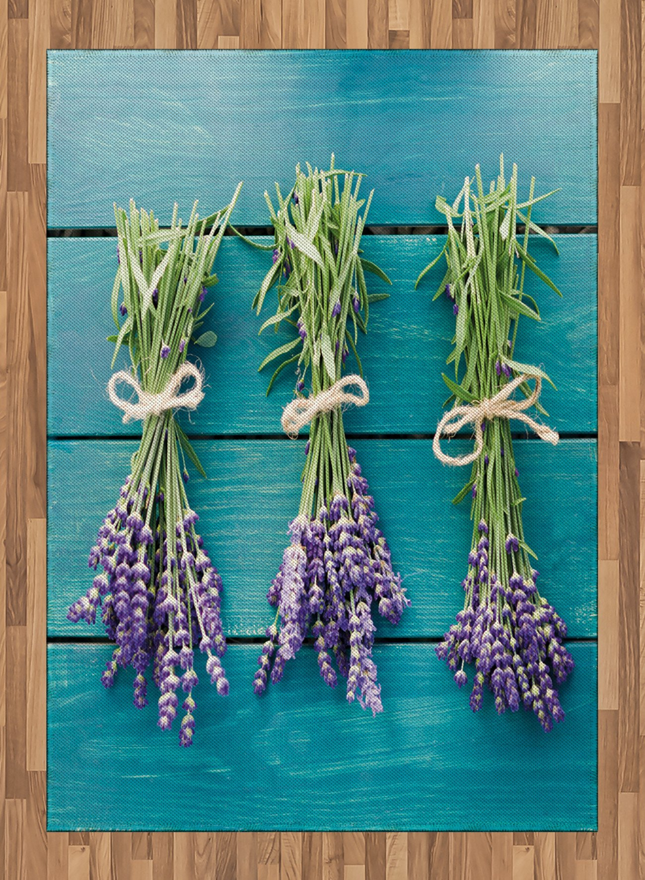 Lavender Area Rug by Lunarable, Fresh Lavender Bouquets on Blue Wooden Planks Rustic Relaxing Spa, Flat Woven Accent Rug for Living Room Bedroom Dining Room, 5.2 x 7.5 FT, Sky Blue Lavender Green