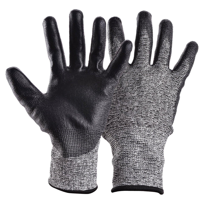 UNIGRACE 作業手袋 軍手 防刃 耐切創手袋レベル5 グローブ 切れない 耐磨耗 通気性 背抜き手袋 2双