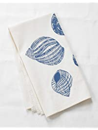 "Tea Towel - Organic Cotton - Periwinkle Shell Design in Blue-Violet - 30"" x 30"""