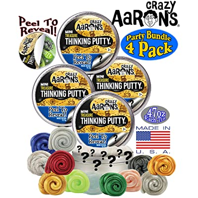 Crazy Aaron's Thinking Putty Mini Tins Treasure Surprise Peel to Reveal (Collect All 12 Colors) Gift Set Party Bundle - 4 Pack (.47oz Each) Items are Assorted and May Contain Duplicates: Toys & Games