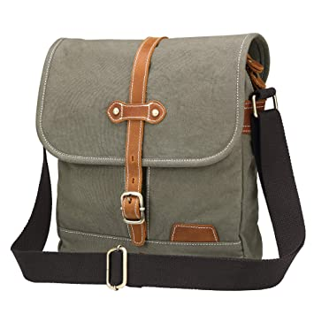 incredible prices picked up detailing Kemy's Canvas Messenger Bag Vintage Mens Shoulder Crossbody Casual Everyday  Purse Courier Bag for Traveling (Military Green)
