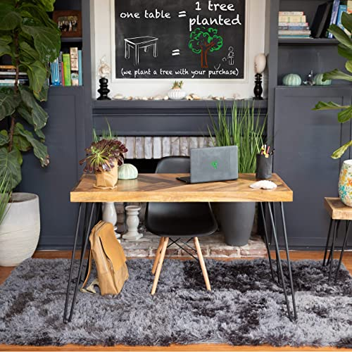 Mindful Living Rustic Farmhouse Mid Century Modern Fusion Mango Wood Top and Iron Hairpin Legs Chevron Pattern Laptop and Writing Desk