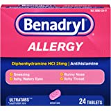 Benadryl Ultratab Antihistamine Allergy Medicine Tablets, 24Count (2 pack)