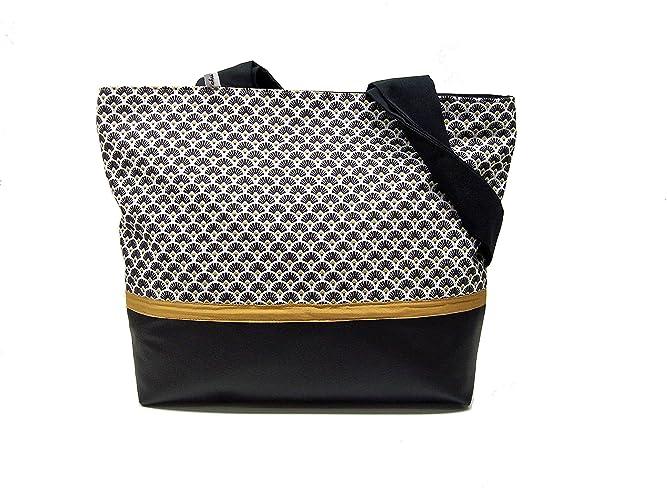 0f054129029657 sac a main noir et blanc a motifs graphiques, sac cabas style scandinave en  simili