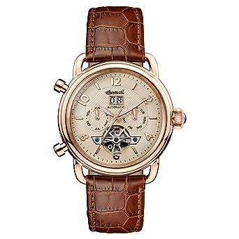 Reloj Automático Ingersoll para Hombre con Oro Analogico Y Marrón Cuero I00901: Amazon.es: Relojes