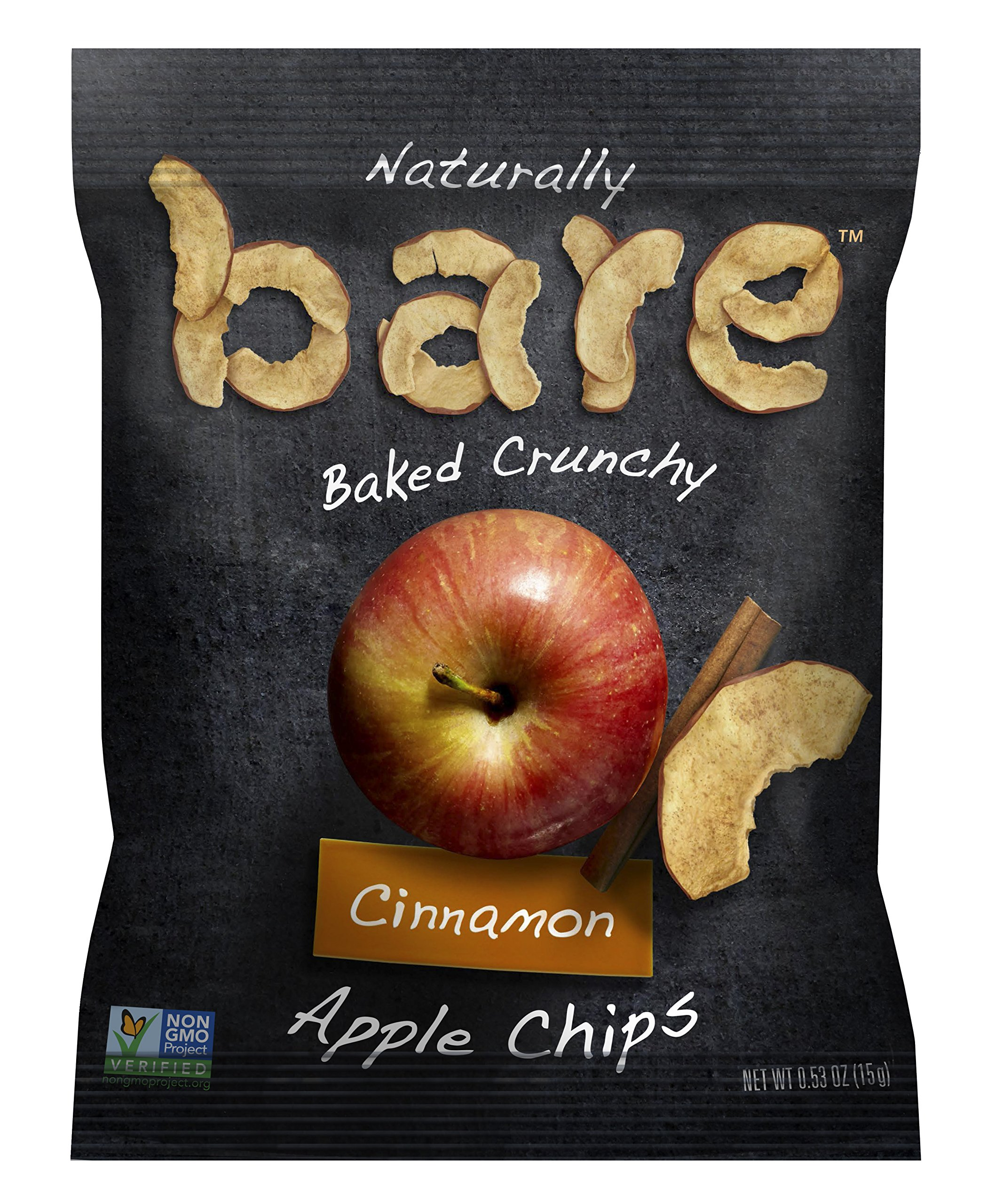 Bare Natural Apple Chips, Cinnamon, Gluten Free + Baked, Snack Size Bag - 0.53 Oz (Pack of 24) by Bare