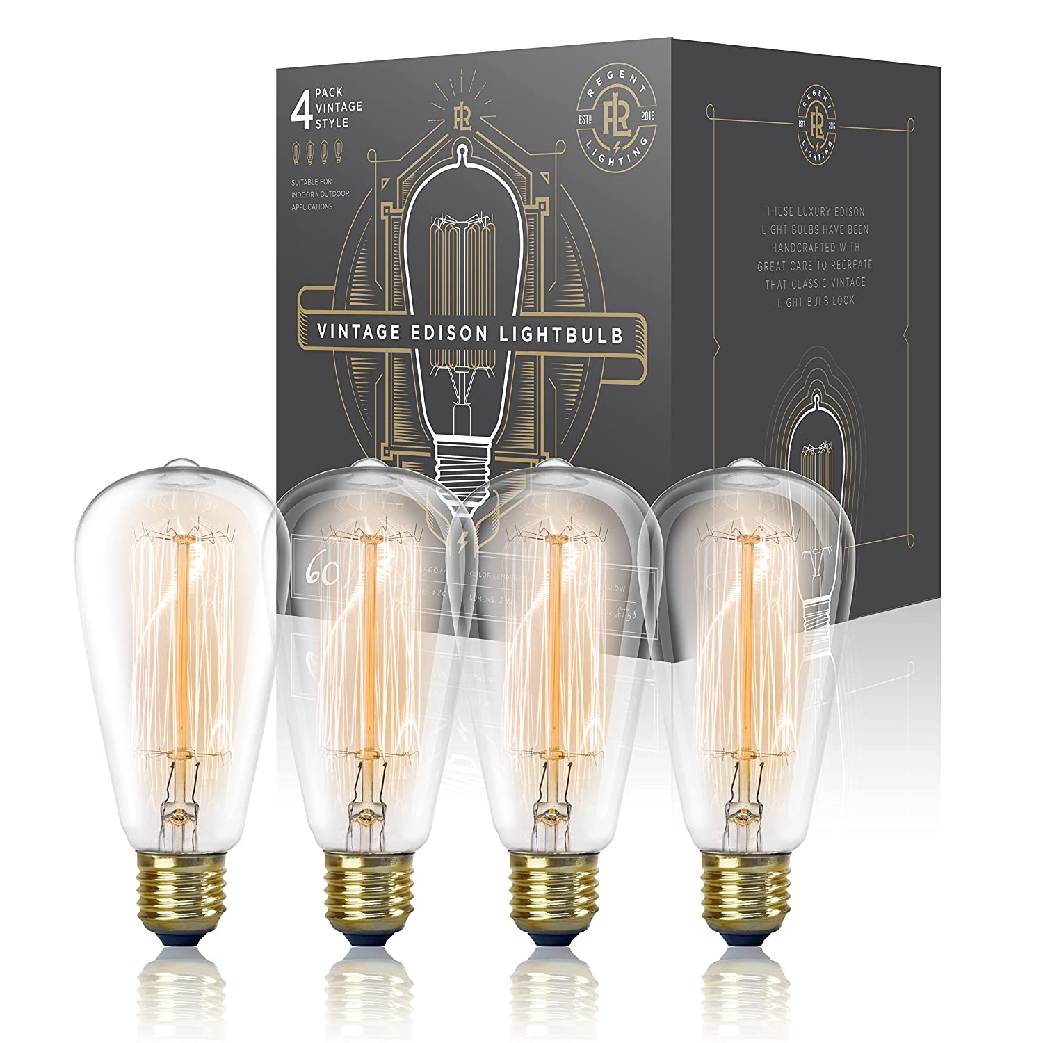 Vintage Edison Light Bulb 60W (4 Pack) - Dimmable Exposed Filament ...