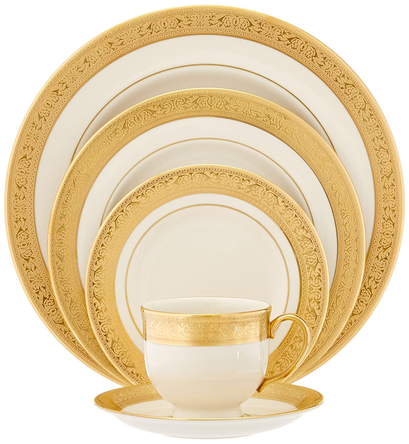 Amazon.com | Lenox Westchester Gold-Banded 5-Piece Place Setting ...