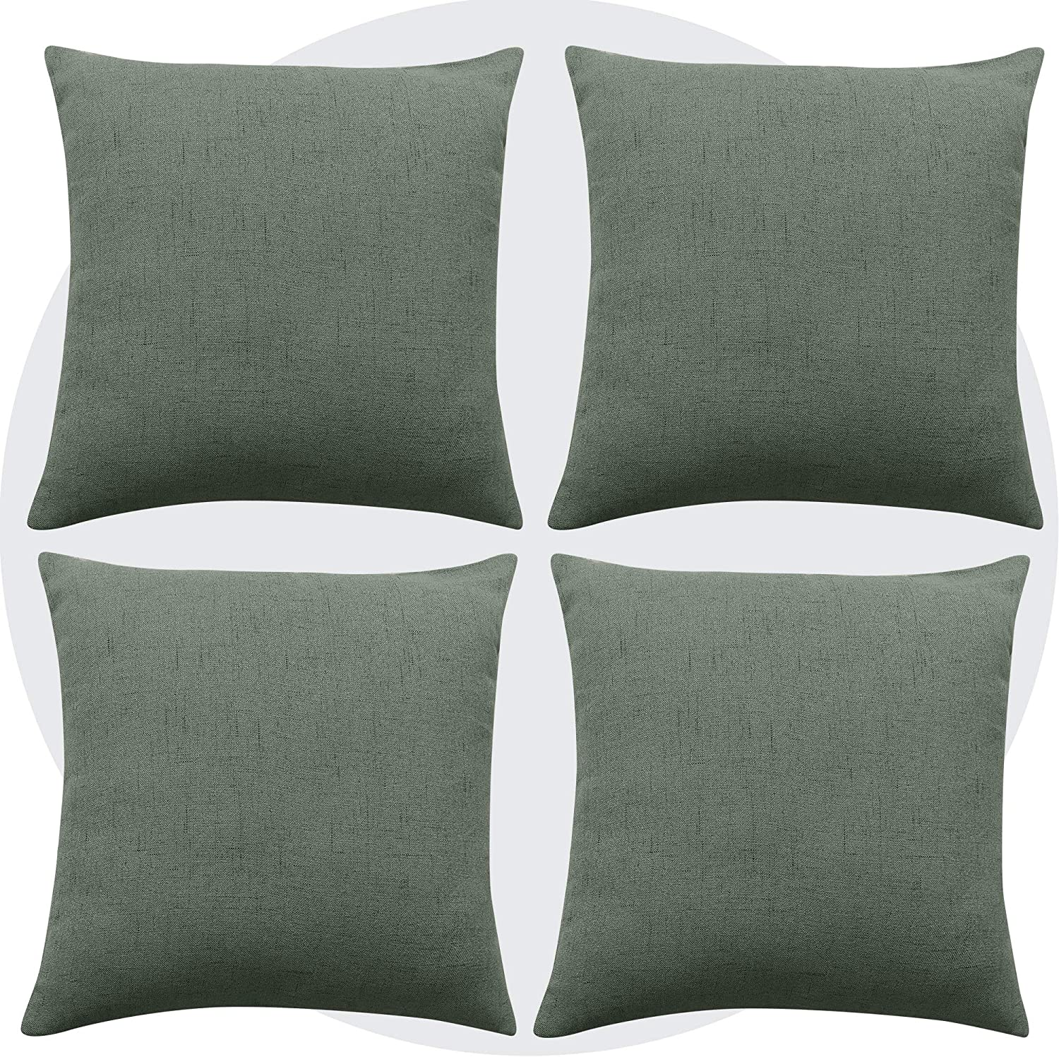 Deconovo Pillow Covers Faux Linen Cushion Cover Solid Blank Pillowcases for Living Room Throw Pillow 22 x 22 Inch Forest Green Set of 4 No Pillow Insert