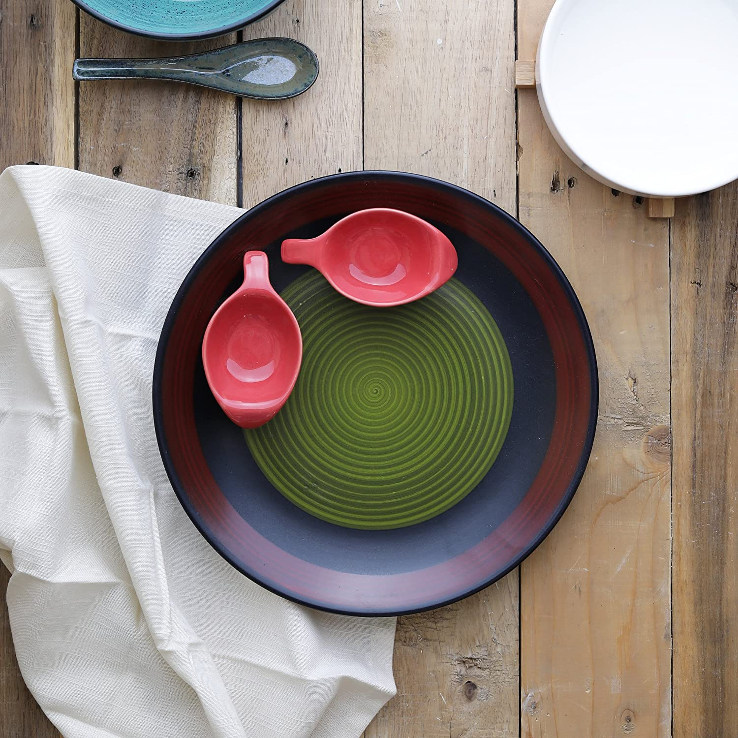 Home And Decor Ceramic Designer Platter With Attached Bowls