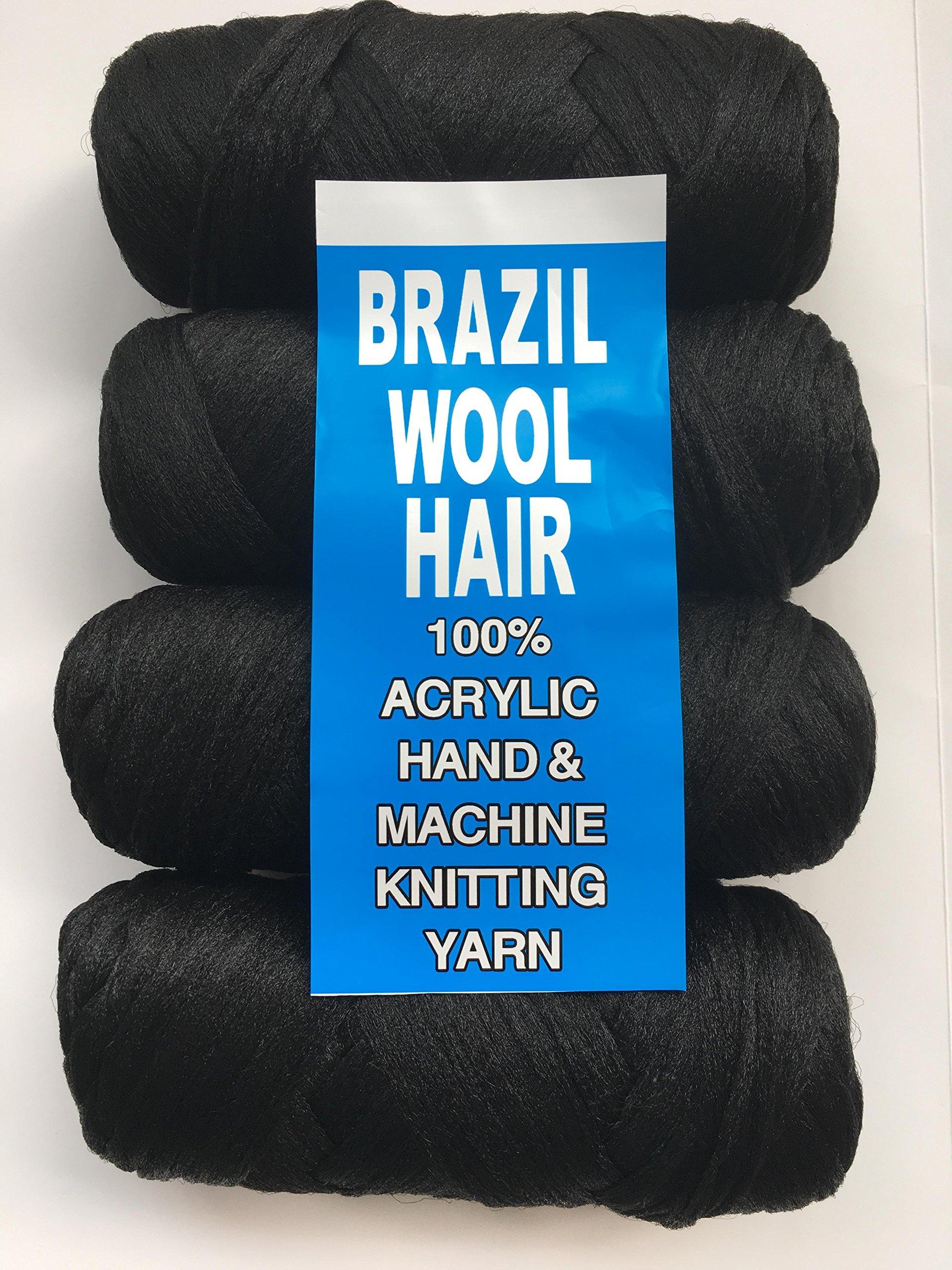 Brazilian Wool Acrylic Yarn for Hair Jumbo Braid/Senegalese Twist/Wraps (Natural black)
