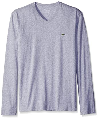 1db98cf1 Lacoste Men's Long Sleeve Jersey Pima Regular Fit V Neck T-Shirt |  Amazon.com