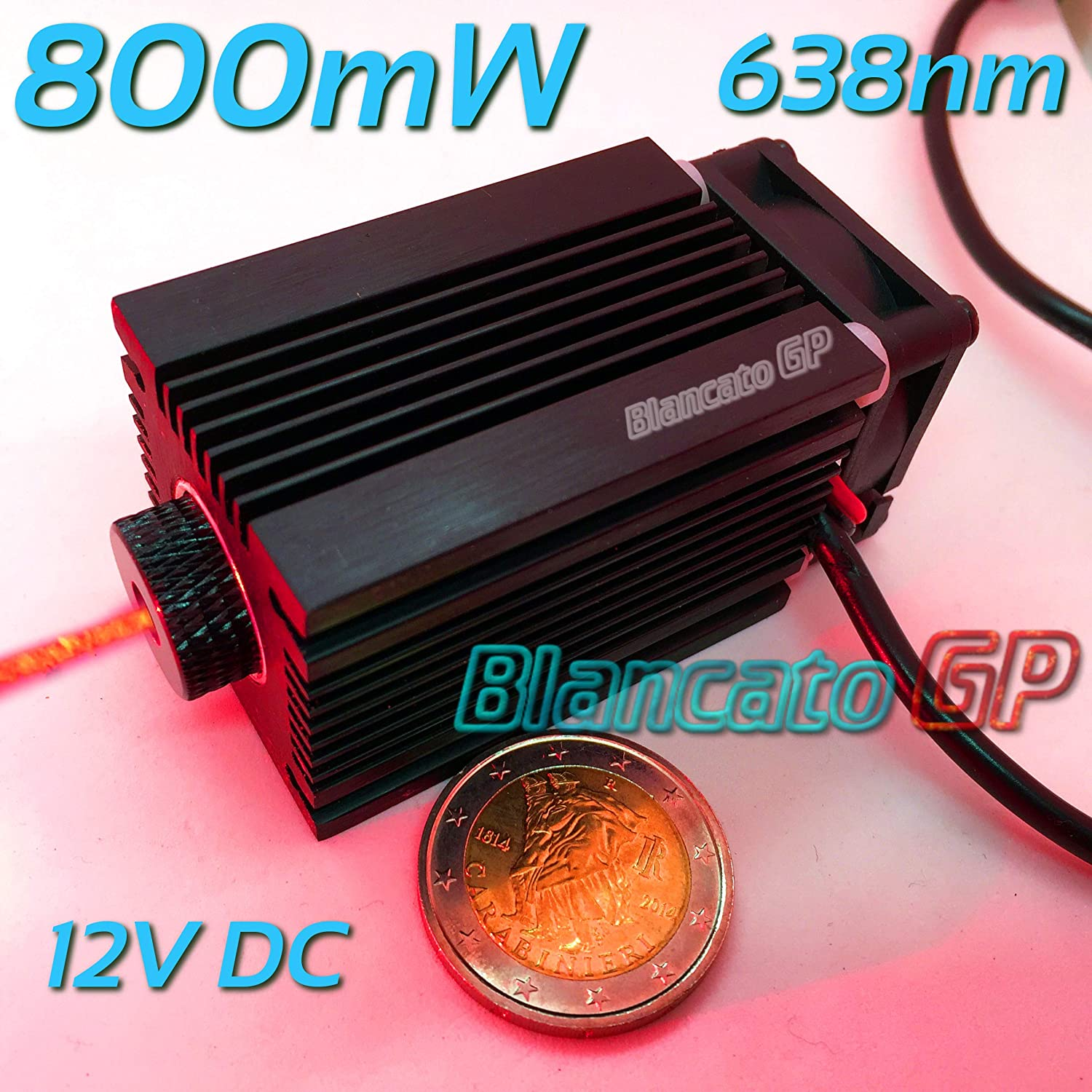 Module laser 12V 638Nm 800mW 0.8W point rouge Diode Module Focusable Red Dot BlancatoGP