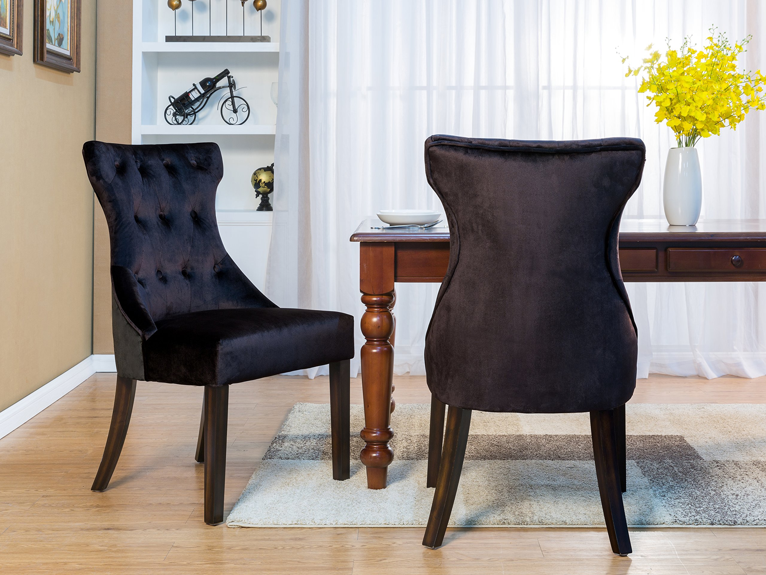 Iconic Home Dickens Dining Side Chair Button Tufted Velvet Espresso Wood Legs Modern Contemporary, Black, Set of 2