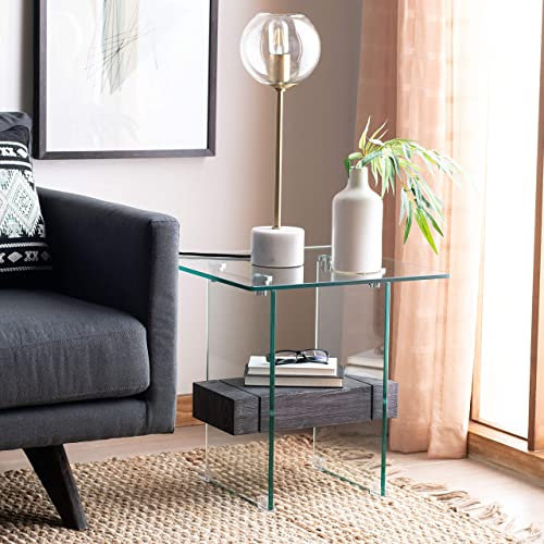 Safavieh Home Kayley Black Oak and Glass Accent Table