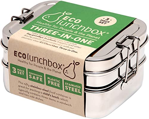 Our choice for the best stainless bento box - the Three-in-One Stainless Steel Bento Box by Ecolunchbox
