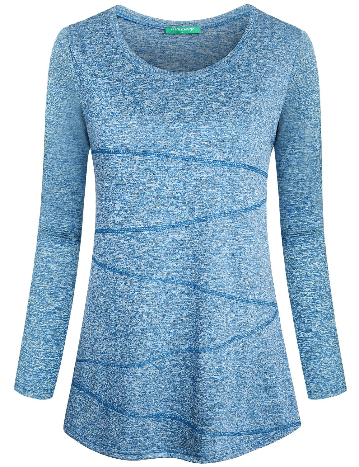 Kimmery Yoga Tunic, Running Tops for Women Long Sleeve Scoop Collar Space Dye Pilates Shirts Pullover Style Ladies Exercise Casual Clothes Light Blue Medium by Kimmery