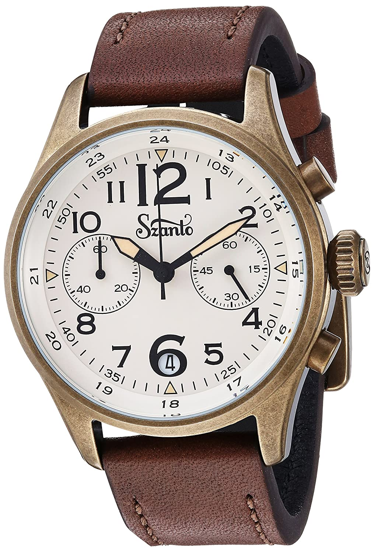 Szantoメンズ' Desert Sands ' QuartzステンレススチールandレザーCasual Watch , Color : Brown ( Model : sz4514 ) B079K2GRSR